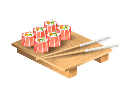 Set of japanese food with chopsticks and wooden tray. Sushi set with salmon and avocado. Vector illustration