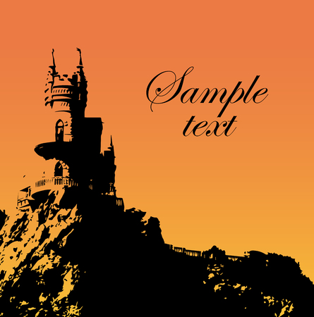 cliff: Card or invitation with castle on a cliff. Vector illustration Illustration