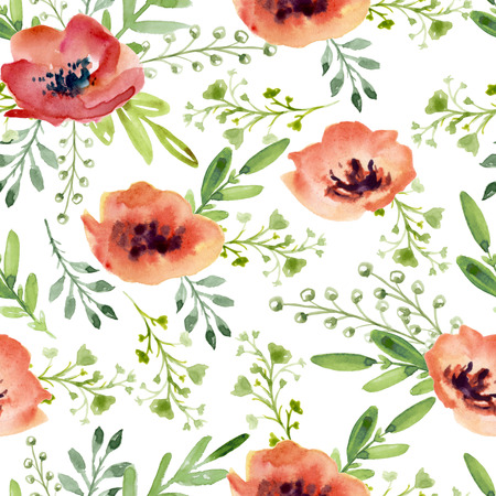 Seamless pattern with watercolor red flowers
