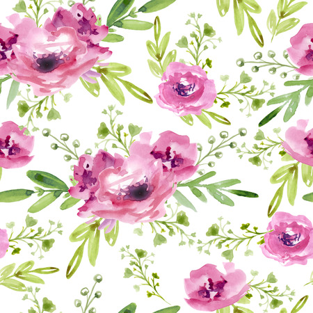 Seamless pattern with pink flowers Фото со стока