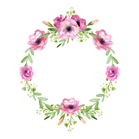 Floral wreath with pink flowers Фото со стока