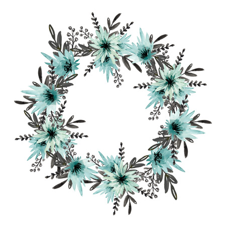 Floral wreath with blue flowers