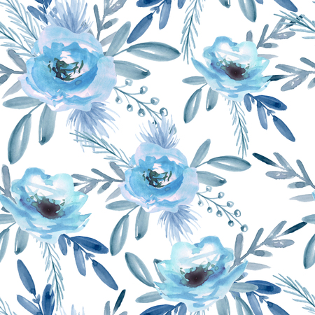 Seamless pattern with blue flowers. Watercolor