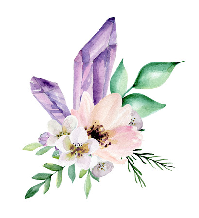 Wedding bouquet with flowers. Watercolor hand drawn