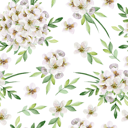Seamless floral pattern with white flowers. Watercolor hand drawn Фото со стока