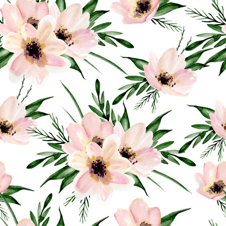 Seamless floral pattern on a white background. Watercolor hand drawn