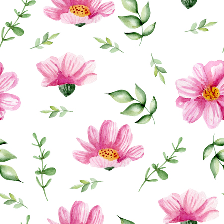 Seamless white pattern with pink flowers. Watercolor hand drawn