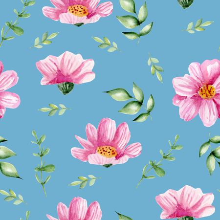 Seamless pattern with pink flowers. Watercolor hand drawn Фото со стока