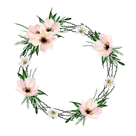 Floral wreath. Watercolor hand drawn Фото со стока
