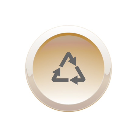 Round recycle button sand color on a white background Ilustrace