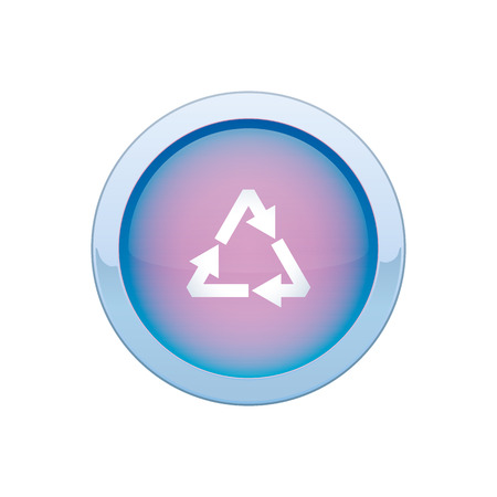 Round recycle button blue on a white background