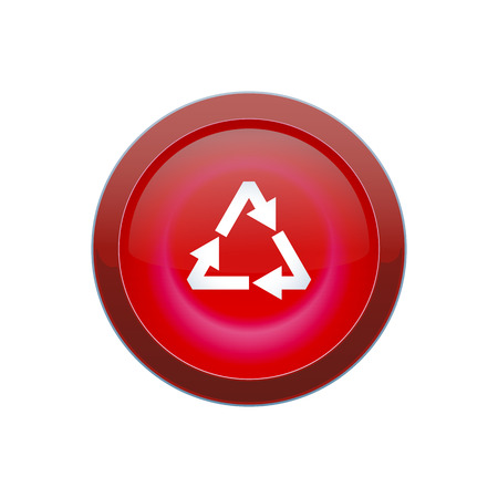 Vector red round recycle button on white background
