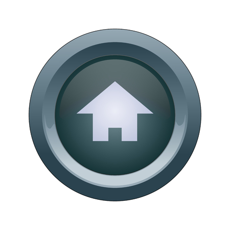 Round blue button with a house icon Ilustrace