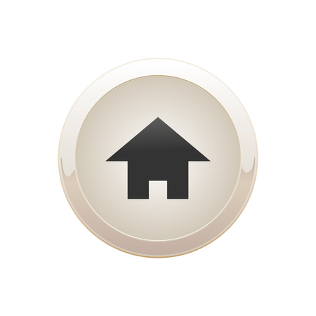Sand round button with house icon Ilustrace
