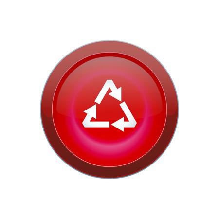 白い背景の上リサイクル ボタン ラウンド赤ベクトル