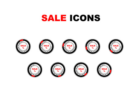 Round retro icons with sale text in isolated background