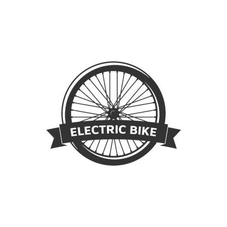 Electric bike badge on white
