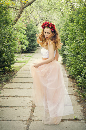 girl dress on spring season Stock Photo