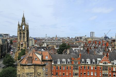 Beautiful view of central Newcastle from Gateshead including clock tower Stock Photo