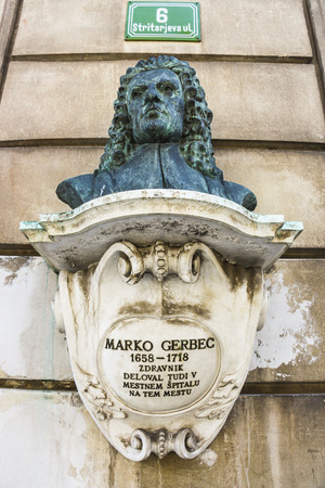 Ljubljana, Slovenia - 2013: Bust memorial of the 17th-century physician Marko Gerbec who was notable as the founder of modern medicine among the Slovenes