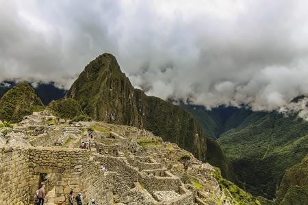 Cusco Region, Machupicchu District, Peru - Dec 2014: Aerial view of the ancient citadel of Machu Picchu. The 15th-century Inca site was declared a UNESCO World Heritage Site in 1983