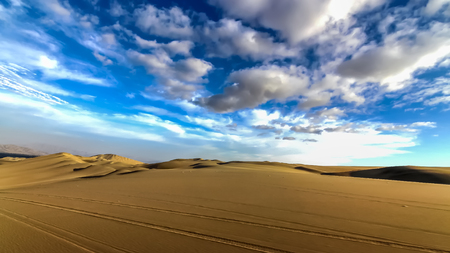 The sand dune desert near the oasis of Huacachina, Peru