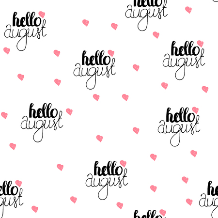 wallpapper: Hand Drawn Lettering Seamless Pattern - Hello August