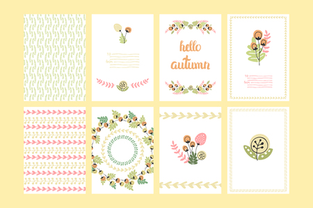 hi end: Vector Cute Collection Of Autumn Cards AndI Invitations. Wiyh Hand Drawn Lettering And Flower. The Trend for banners, labels, signs, prints, posters, web and phone case.