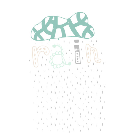 wallpapper: Vector Doodle Illustration With Handdrawn Clouds And Tribal Letters.  For wallpaper, print, posters and phone case. Rain
