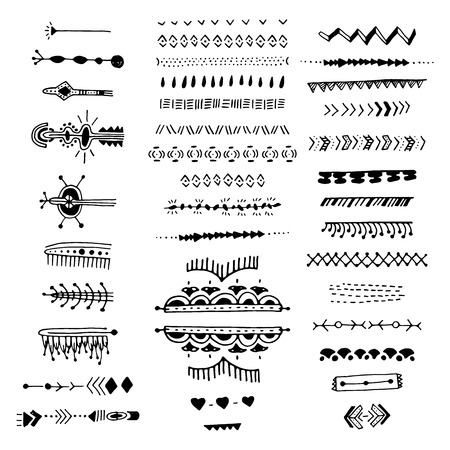uncommon: Uncommon Ethnic Vector Hand Drawn With Geometric And Aztec Decor Elements. Trendy Ttribal collection with stroke, line, decorative elements, geometric symbols. Ethnic style Illustration