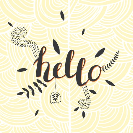 wallpapper: Vector Hand Drawn Lettering. Calligraphy for banners, labels, signs, prints, posters, web.Hallo Illustration