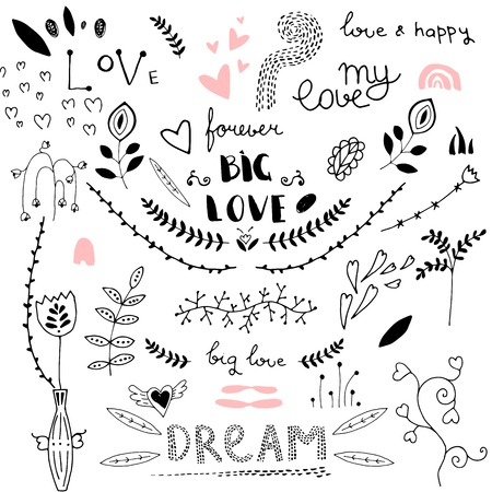 Love decorative vintage elements, hand drawn collection with, heart, tatoo, flower, and lettering. Doodle love set, vector illustration for design Çizim