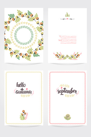 invation: Vector Cute Collection Of Autumn Cards AndI Invitations. Wiyh Hand Drawn Lettering And Flower. The Trend for banners, labels, signs, prints, posters, web and phone case.