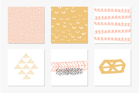 flayers: Set of Modern Creative Cards with Hand Drawn Ethnic Shapes Made with Ink. Retro Template for Placards, Posters, Flayers and Banner Designs. Illustration