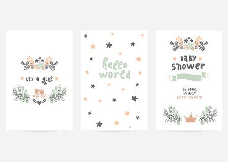 完璧なベクトル名刺テンプレートのセットです。ベビー シャワー、母の日、バレンタインデー、誕生日カード、招待状、印刷、スクラップ ブックに