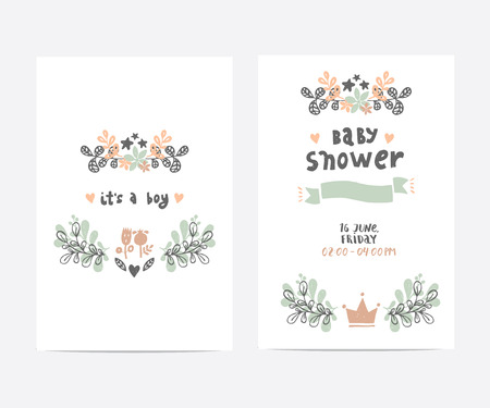 Set Of Perfect Vector Card Templates Ideal For Baby Shower