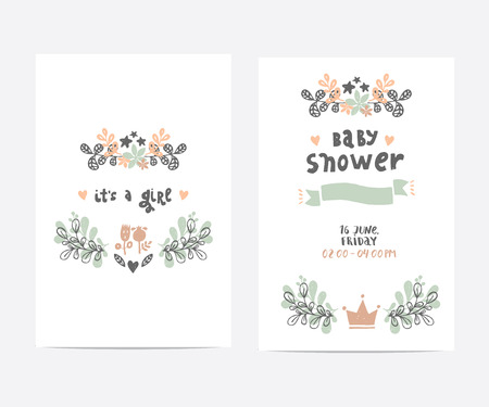 Birthday Cards Templates ~ Set of perfect vector card templates ideal for baby shower