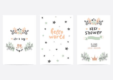 Conjunto de plantillas de tarjetas vectoriales perfecto. Ideal para la fiesta de bienvenida al bebé, día de las madres, día de tarjetas del día de San Valentín, tarjetas de cumpleaños, invitaciones, impresiones, libro de recuerdos Ilustración de vector