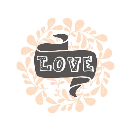 Carino e disegnato positivo lettering vettoriale sull'amore.