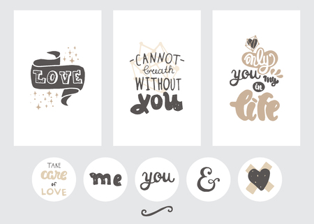 Vector set of post cards, invitations with hand drawn lettering, flowers and decorative elements.