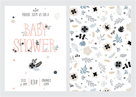 Baby shower girl and boy posters, vector templates. Vintage style with leaves, flowers, lettering. Ilustracja