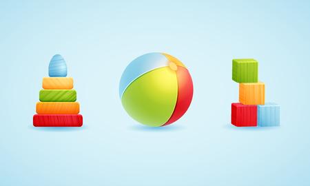 Baby toy icon set.