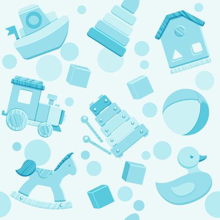 Blue pattern with baby toys in flat style. Ilustração
