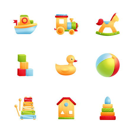 Baby first toys realistic icon set