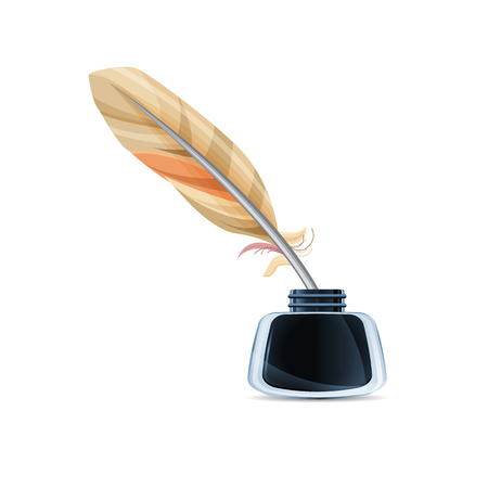 Glass inkwell with feather, isolated. Realistic vector art illustration. Ilustração