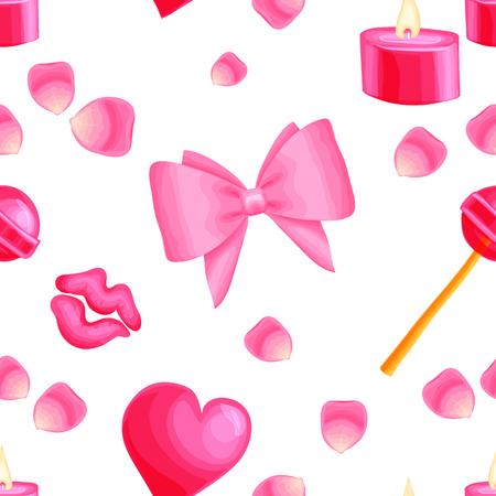 Pink  pattern with valentine items Ilustração