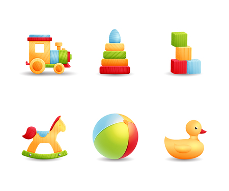 Baby first toys realistic icon collection