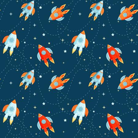 Cartoon  rockets in cosmos  pattern