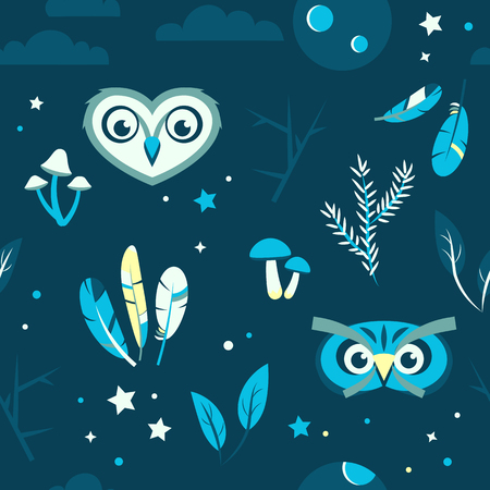 Seamless pattern with owls mushrooms feathers