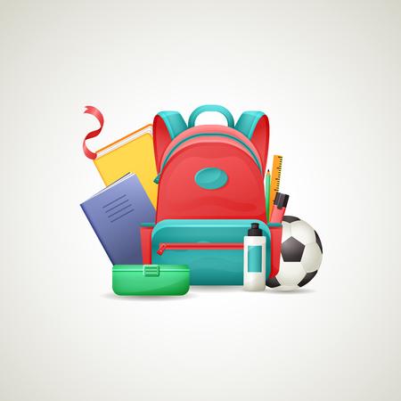 Schoolbag with school supplies Ilustração